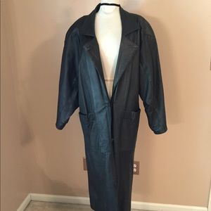 BB Dakota black leather trench coat vintage XS